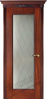 Дверь Оникс Александрия Остекленная Гравировка ромбы