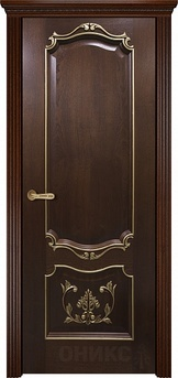 Дверь Венеция Красное дерево черная патина с декором