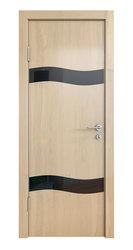 Межкомнатная дверь Дверная Линия ДО-503 Анегри светлый стекло чёрное