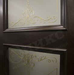 Дверь остекленная Прованс Дуб коньячный контурный витраж