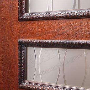 Дверь остекленная Версаль Красное дерево патина с декором