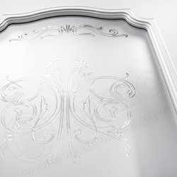 Межкомнатная дверь Оникс Венеция Фреза Эмаль белая контурный витраж №2