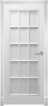 Дверь остекленная Турин фрезерованное эмаль белая решетка 2