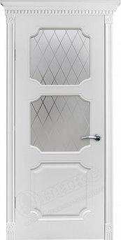 Дверь остекленная Валенсия фрезерованное эмаль белая