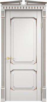 Дверь ОЛ 7.2 Белый грунт патина орех