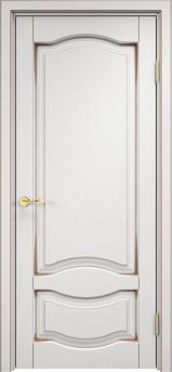 Дверь ОЛ 33 Белый грунт патина орех