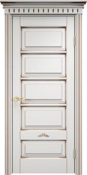 Дверь ОЛ 44 Белый грунт патина орех