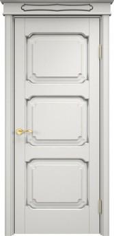 Дверь ОЛ 7.3 Белый грунт патина серебро микрано