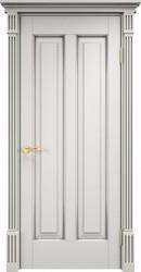 Дверь ОЛ 102 Белый грунт патина серебро микрано