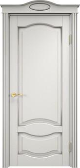 Дверь ОЛ 33 Белый грунт патина серебро микрано
