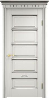 Дверь ОЛ 44 Белый грунт патина серебро микрано