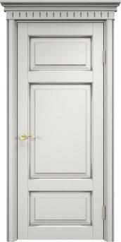 Дверь ОЛ 55 Белый грунт патина серебро микрано
