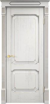 Дверь Д 7/2 Белый грунт патина серебро микрано