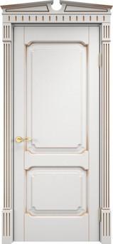 Дверь ОЛ 7.2 Белый грунт патина золото