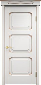 Дверь ОЛ 7.3 Белый грунт патина золото