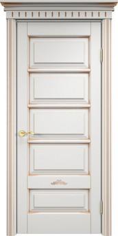 Дверь ОЛ 44 Белый грунт патина золото