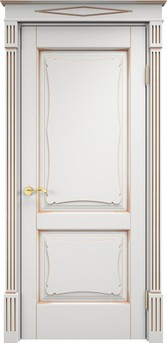 Дверь ОЛ 6.2 Белый грунт патина золото