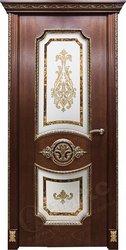 Дверь остекленная Империя красное дерево патина