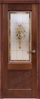Дверь остекленна Италия 2 Красное дерево патина