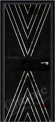 Дверь Соло 2 Черная эмаль патина рисунок Ромбы