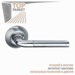 Ручка дверная на круглой накладке Lindo A-34-10 Матовый хром