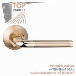Ручка дверная на круглой накладке Lindo A-34-10 Матовое золото