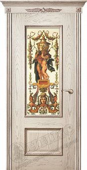 Дверь остекленная Марсель С декором Патина Фотопринт