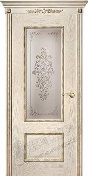 Дверь остекленная Марсель С декором Патина золото
