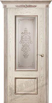 Дверь остекленная Марсель С декором Патина серебро