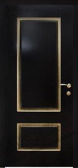 Дверь Марсель фрезерованное эмаль черная патина золото