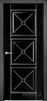 Дверь Орлеан фрезерованное эмаль черная патина серебро