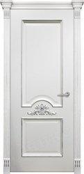 Дверь Византия Белая эмаль патина серебро