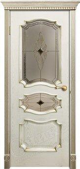 Дверь остекленная Барселона Патина золото