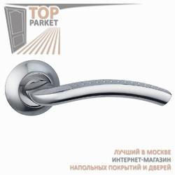 Ручка дверная на круглой накладке Pratico A-09-10 Матовый хром