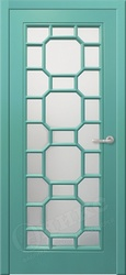 Дверь остекленная Турин фрезерованное эмаль по RAL решетка 3