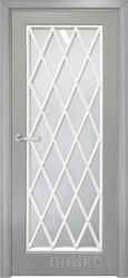 Дверь остекленная Турин фрезерованное эмаль серая решетка 4
