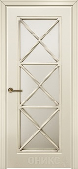 Дверь остекленная Турин фрезерованное эмаль слоновая кость решетка 5
