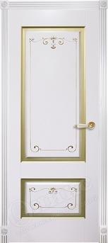 Дверь Марсель фрезерованное эмаль белая с росписью