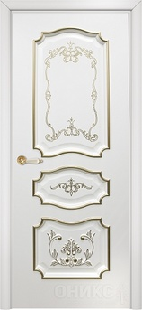 Дверь Барселона Белая эмаль с Декором