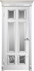 Дверь остекленная Гранд белая эмаль патина серебро