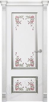 Дверь Марсель фрезерованное эмаль белая серебро с росписью