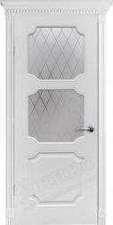 Межкомнатная дверь Оникс Валенсия Фреза Белая эмаль стекло гравировка
