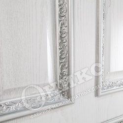 Дверь Гранд белая эмаль патина серебро