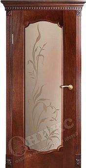 Дверь остекленная Венеция 2 Красное дерево патина пескоструйная обработка
