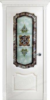 Дверь остекленная Венеция фрезерованное эмаль белая витраж