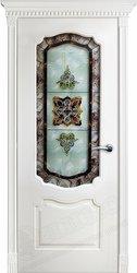 Межкомнатная дверь Оникс Венеция Фреза Эмаль белая витраж сиреневый